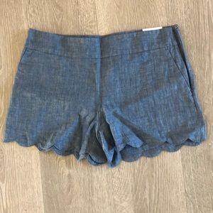 LOFT Scalloped shorts in Chambray
